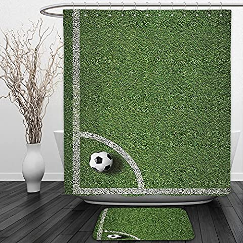 Vipsung Shower Curtain And Ground MatSports Decor Collection Soccer Ball in Corner Kick Position Football Field Top View Grass Lawn Terrain Image Green WhiteShower Curtain Set with Bath Mats - Terrain Wonder Wash