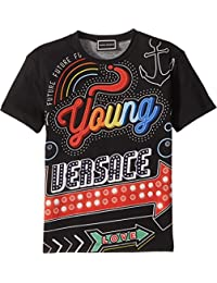 Kids Mens Short Sleeve Neon Lights Logo Graphic T-Shirt (Toddler/Little Kids. Versace