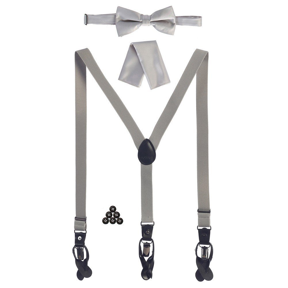 Gioberti Boys Light Gray Convertible Suspenders Bow Tie Buttons and Hanky Set
