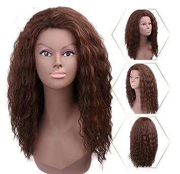 Fa Peluca rizada marrón Color Natural Pelucas largas para Las Mujeres, Resistente al Calor Pelo