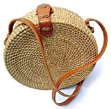 Bali Rattan - Handwoven Round Rattan Bag (Plain Weave Leather Closure)