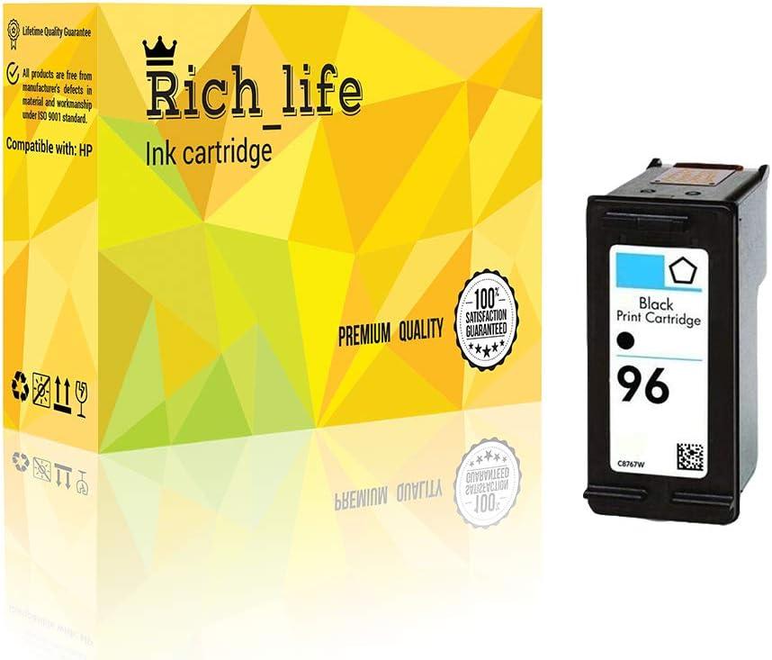 Black Rich/_life Remanufactured Ink Cartridge Replacement for HP96 HP 96 Black C8767WN Inkjet Cartridges Compatible HP Printer PSC Designjet Deskjet OfficeJet Photosmart 1 Pack