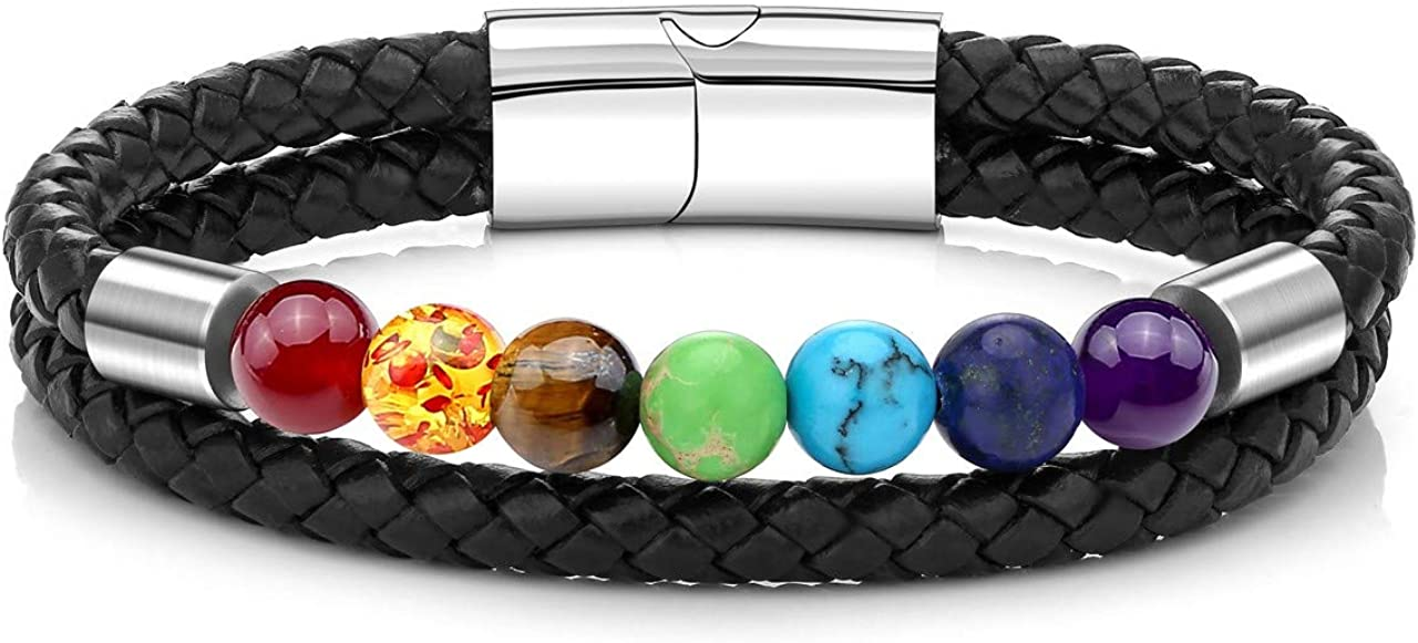 JOVIVI Personalized Custom 7 Chakras Lava Rock Essential Oil Diffuser Natural Healing Tiger Eye Stone Bead Bracelet for Men Women Double Layer Genuine Leather Rope with Stainless Steel Magnetic Buckle