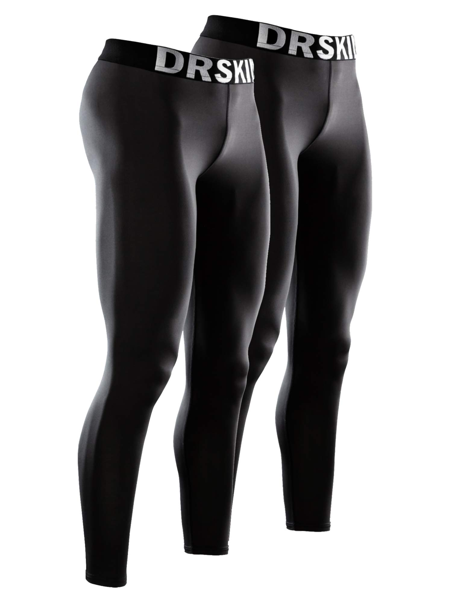 DRSKIN 1~3 Pack Men's Compression Dry Cool Sports Tights Pants Baselayer Running Leggings Yoga (Packs of 1, 2, or 3 Deals) (Classic B01 2P, S) by DRSKIN