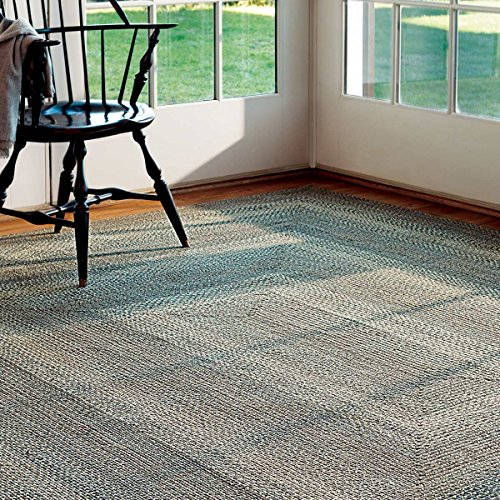 Oval Jute Braided Rug – All Natural Fiber 4' x 6' Area Rug, Made with Natural Jute Twine – A Reversible Rug for Rustic Home Décor – Homespice Pewter Oval Jute Rug 4' x 6' with Grey