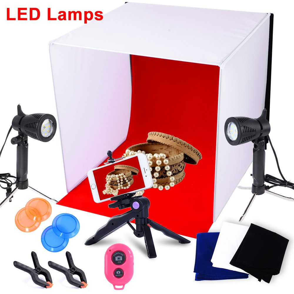 Hakutatz 40x40cm/16'' Table Top Photography Studio Continous Lighting LED Light Shooting Tent Box Cube Kit with carrying bag,Camera Tripod,Cell Phone Holder,Spring Clamps Clips,Bluetooth Receiver