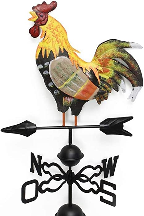 DONEMORE7 Cock Weather Vane Rooster Iron Cockeral Weathervane with Ground Spike and Wall Bracket Craft Garden Weather Vane Wind Direction