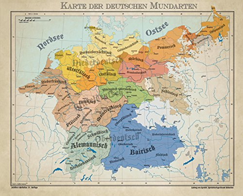 Home Comforts LAMINATED POSTER Map of Dialects from the German Language area 1900 POSTER PRINT 24 X 36