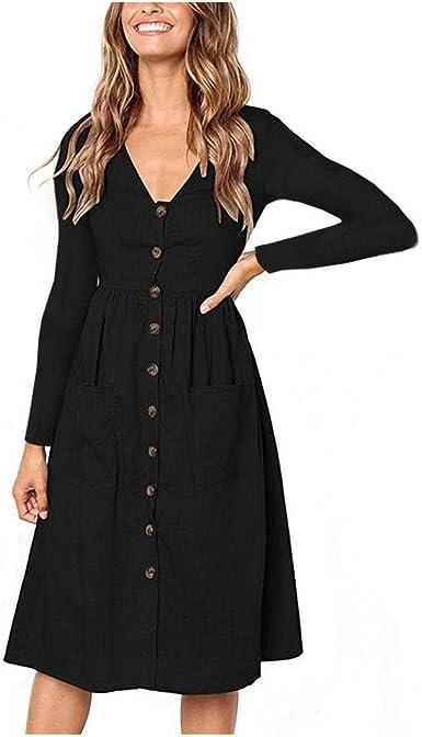 Vestidos adorables para Mujer   2020 otoño botón Bolsillos ...