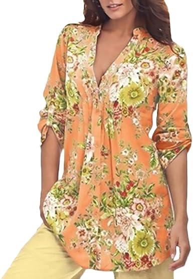 Camisetas Mujer Primavera Estampados Flores Camiseta Elegantes Manga Larga Stand Cuello Chic Vintage Blusas Camisas Tops: Amazon.es: Ropa y accesorios