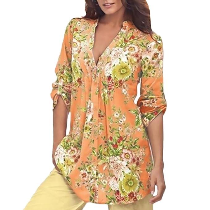 Huixin Camisas Mujer Primavera Estampados Flores Camiseta Elegantes Blusas Manga Larga Stand Cuello Moda Ropa Playa Tops: Amazon.es: Ropa y accesorios