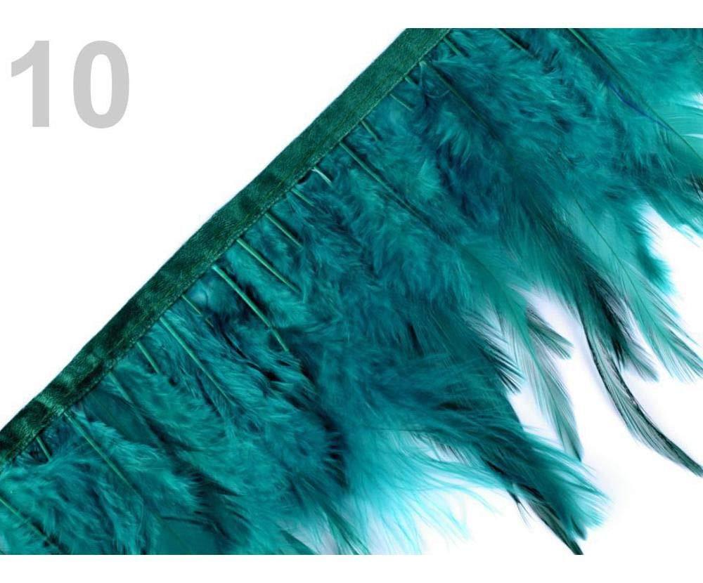 Galons Et bordures Passementeries des articles de Mercerie 1m 10green Turquoise Plume de finition Avec des Plumes de Coq Largeur 12 Cm