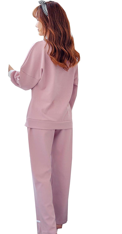 BAIYIXIN Big Girl Sleepwear Cotton Cute Long-Sleeve Pajama Set Autumn