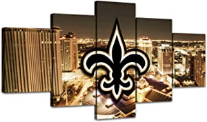 MIAUEN Canvas Art New Orleans Saints Poster Living Room Wall Decor Pictures Sports Football Home Game Room Decoration Prints Framed Paintings Ready to Hang(60''Wx32''H)