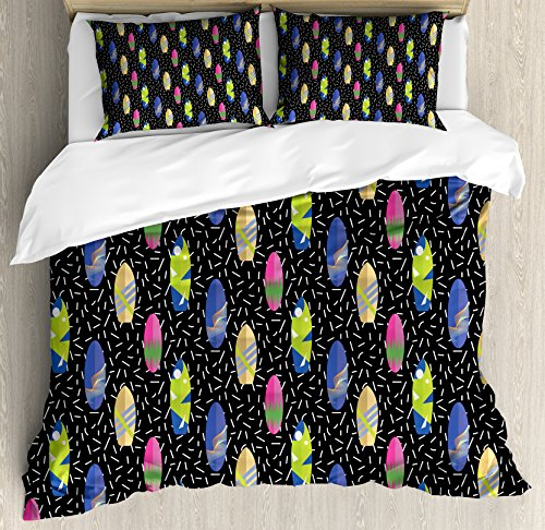Ambesonne Surfboard Duvet Cover Set Queen Size, Colorful Boa