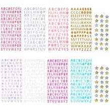 Sunmns Glitter Letter Gift Alphabet Sticker Self Adhesive Letters and star stickers, 10 Sheets