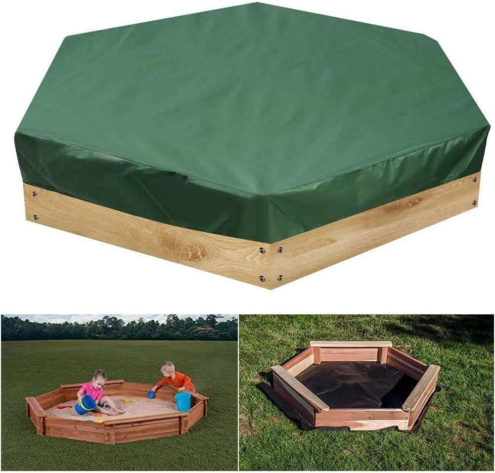 Cubiertas de arenero hexagonales con cordón, 90% de tela Oxford anti-UV Cubierta de caja de arena impermeable con protección contra el polvo, para la piscina al aire libre del jardín del hogar,S: