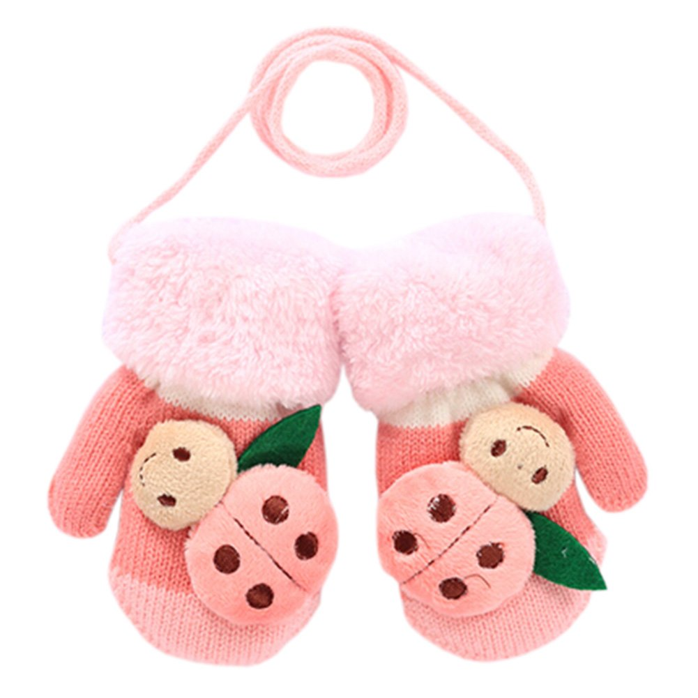1 Pair Kids' Winter Glove Knitted Mittens With Sling(1-3 Years) Beetle Pink Kylin Express