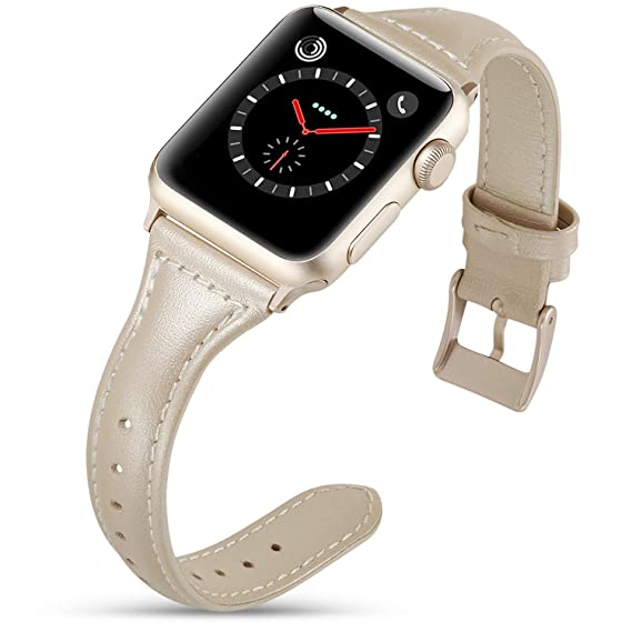 2e2e0bc52fe Image Unavailable. Image not available for. Color  FanTEK Leather Bands  Compatible with Apple Watch Band 40mm Slim Replacement Wristband Sport  Strap Iwatch ...