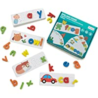 LiKee See and Spell Learning Toys Sight Words Games Matching Letter Puzzles Montessori Preschool Educational Toys for Kids Boys Girls Age 3+ Years Old (28 Flash Cards and 52 Wooden Alphabet Blocks)