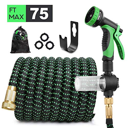 AIRKOUL Expandable Garden Hose 75 ft Water Hose Lightweight Durable Flexible Hose 10 Function Spray Hose Nozzle 3/4 Solid Brass Connectors Extra Strength No Kink Garden Expanding Hose (Upgraded 75 ft)