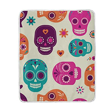 Amazon.com  Colorful Skulls Cute Throw Blanket for Bed Couch Chair ... 2cc4b6c74d