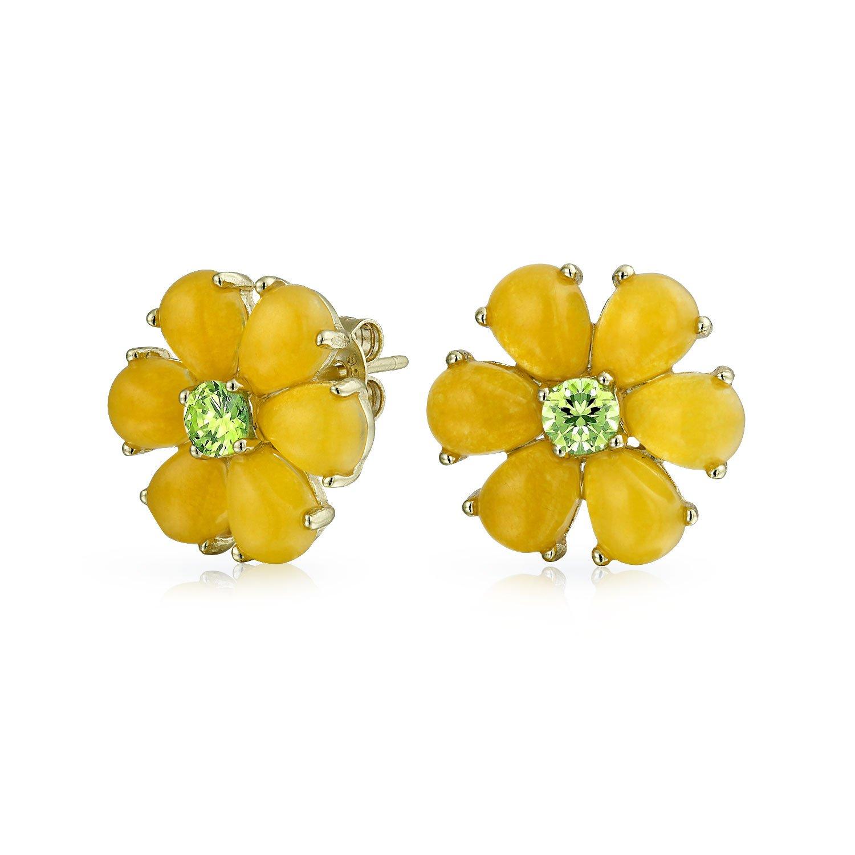 Amazon Daisy Flower Dyed Peridot August Birthstone Yellow Jade