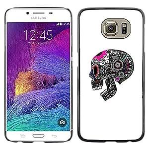 LECELL--Funda protectora / Cubierta / Piel For Samsung Galaxy S6 SM-G920 -- Skull Death Grey Pink White Pattern --