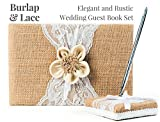 Rustic Wedding Guest Book Made of Burlap and Lace - Includes Burlap Pen Holder and Silver Pen - 120 Lined Pages for Guest Thoughts - Comes in Gift Box (Petal Flower)