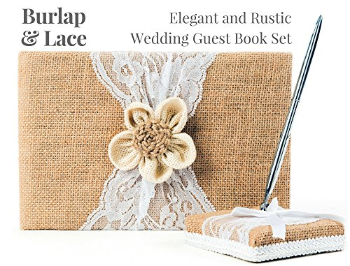 (Rustic Wedding Guest Book Made of Burlap and Lace - Includes Burlap Pen Holder and Silver Pen - 120 Lined Pages for Guest Thoughts - Comes in Gift Box (Petal)