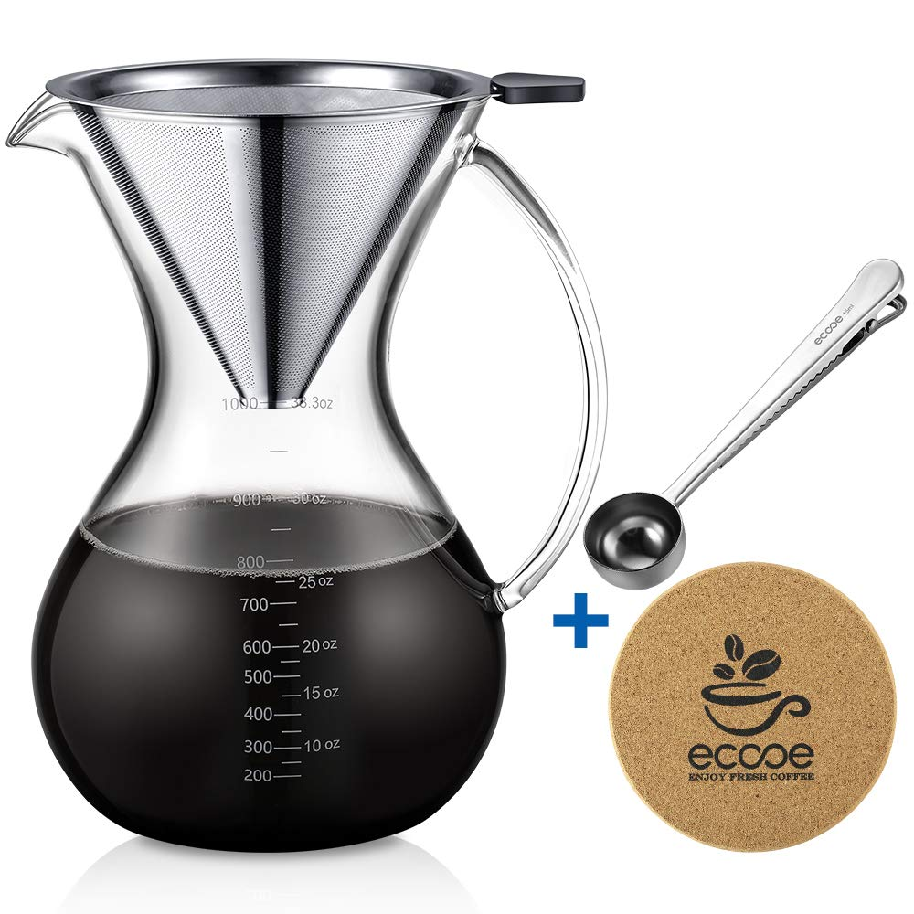 Ecooe 1000ml/33.3oz Pour-Over Coffee Maker Set for Sharing with Stainless Steel Removable Filter, Stailess Steel Spoon, Cork Mat and Cleaning Brush