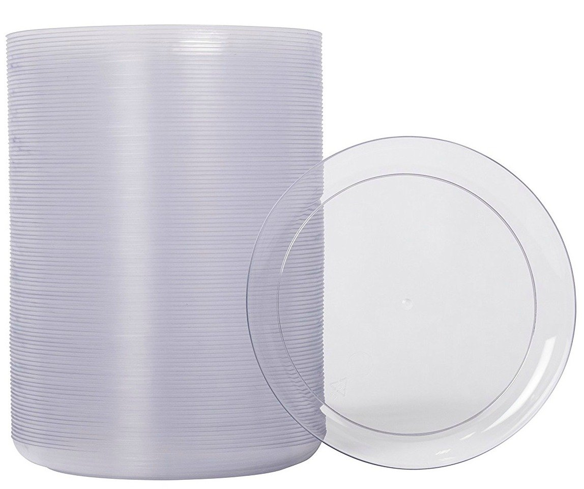 Zappy 100 Disposable Plastic Dessert Plates Premium Quality Plastic Plates, 6'' Hard Disposable Plastic Plates, Clear Appetizer Dinner Party Plates Great Dessert Appetizer Wedding Plates Party Plates by zappy (Image #5)