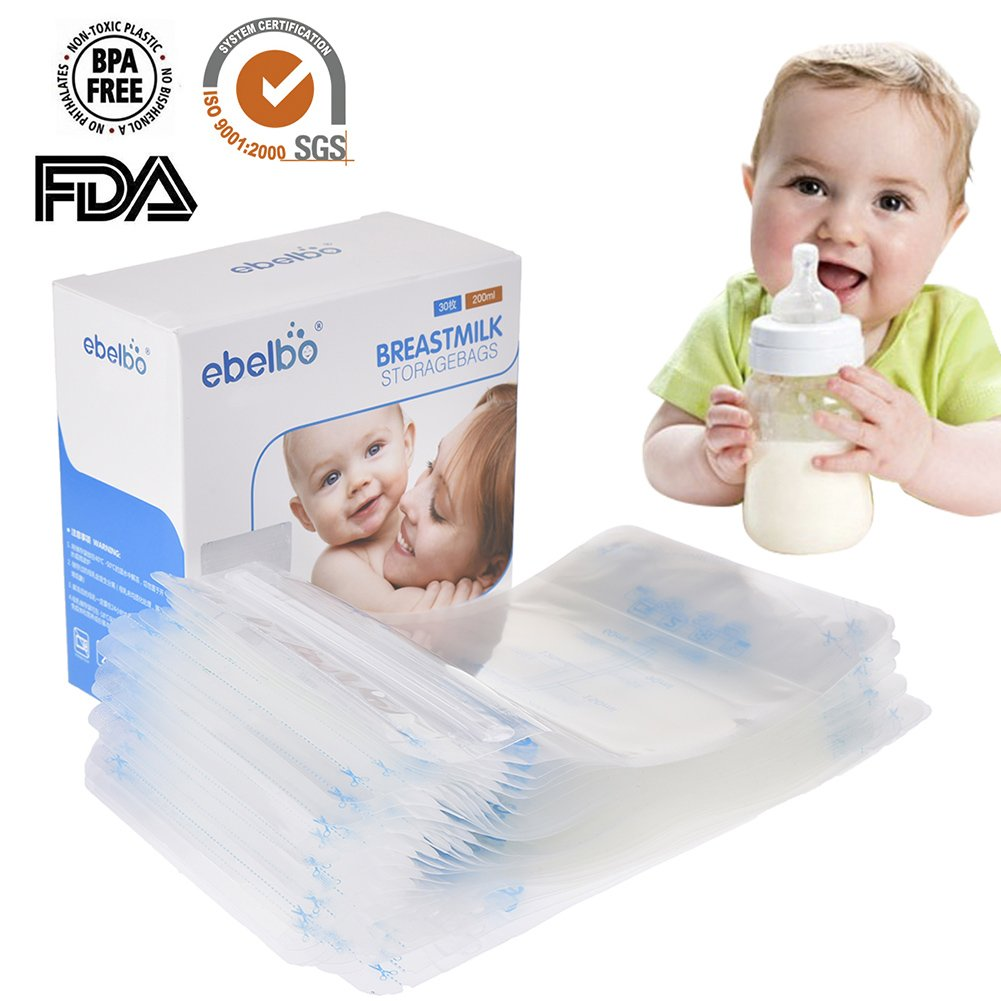 praktischen Muttermilchbeutel 200ml,Muttermilch Aufbewahrungsbeutel, Muttermilch-Gefrierbeutel- platzsparend und sofort verwendbar,30 Stück 30 Stück Cheerfulus