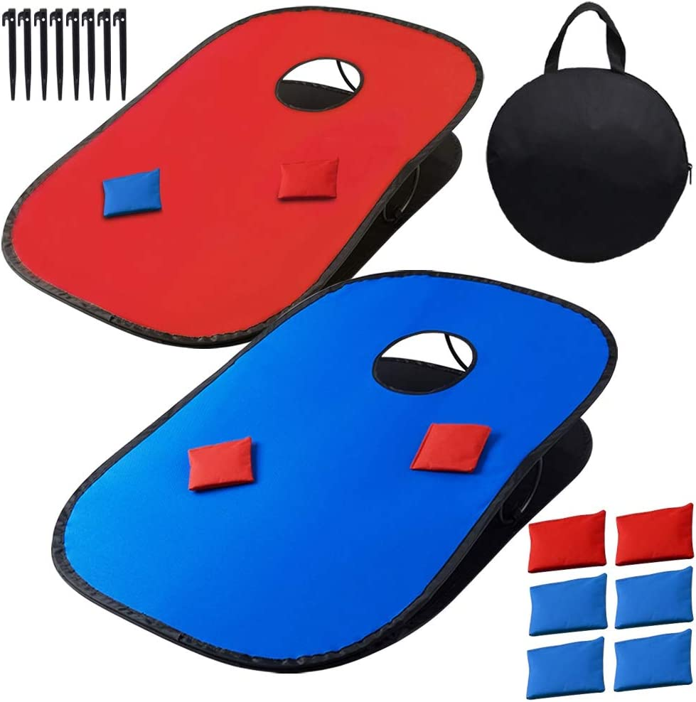 Juegoal 3'x2' Collapsible Portable Cornhole Game Set with 2 Cornhole Boards, 10 Bean Bags, Carrying Bag, and Tic Tac Toe Game Indoor Outdoor Yard Toss Game