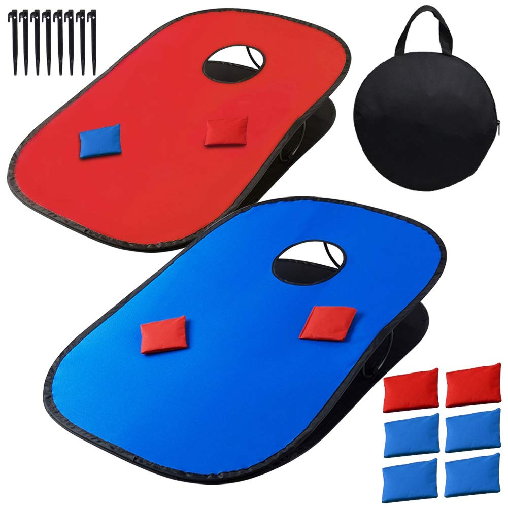 Juegoal 3'x2' Collapsible Portable Cornhole Game Set with 2 Cornhole Boards, 10 Bean Bags, Carrying Bag, and Tic Tac Toe Game Indoor Outdoor Yard Toss Game by Juegoal