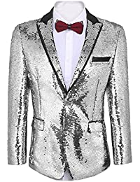 Men s Shiny Sequins Suit Jacket Blazer One Button Tuxedo for  Party 1074fcf3c3