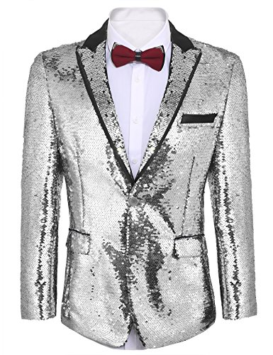 COOFANDY Shiny Sequins Suit Jacket Blazer One Button Tuxedo for Party,Wedding,Banquet,Prom,Nightclub (XS, - One Suit Jacket Button