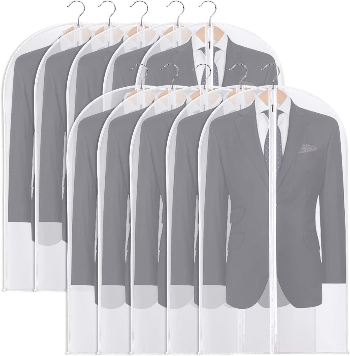 OSPUORT 10 Pack Hanging Garment Bags Suit Bag for Storage with Durable Zipper, Washable Lightweight Garment Covers for Closet Storage