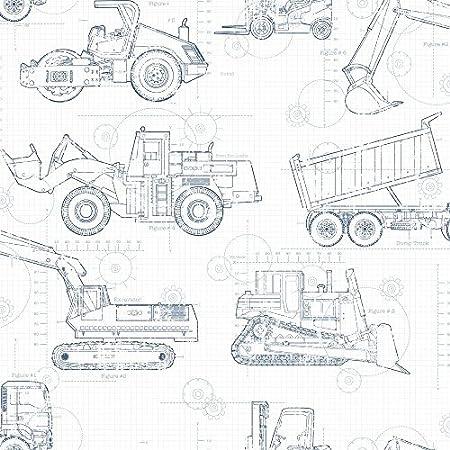York Wallcoverings KS2350 Cool Kids Construction Blueprint Wallpaper,  White/Blue Grey/Prussian