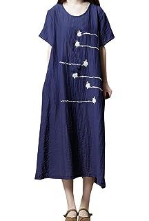Sommer Damen Locker Kleid Freizeit Rundhals Kurzarm Shirt Kleider  Strandkleider Blusenkleider Mode Stickerei Midi Kleid Partykleider 85ecda823d