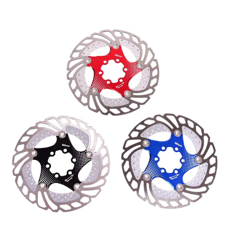 Gimitunus Floating Disc Bremsscheibe 6 Schrauben Aluminiumlegierung Bike Disc Bremsscheibe für die Meisten Fahrrad Rennrad Mountainbike BMX MTB 160mm (Farbe   Schwarz, Größe   160mm)