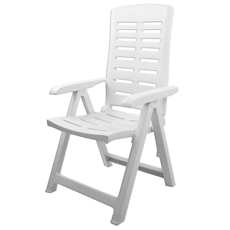 Sedia da giardino comoda a stabile pieghevole 5 posizioni mobile da giardino, terrazza, camping, plastica - bianca Fraschetti