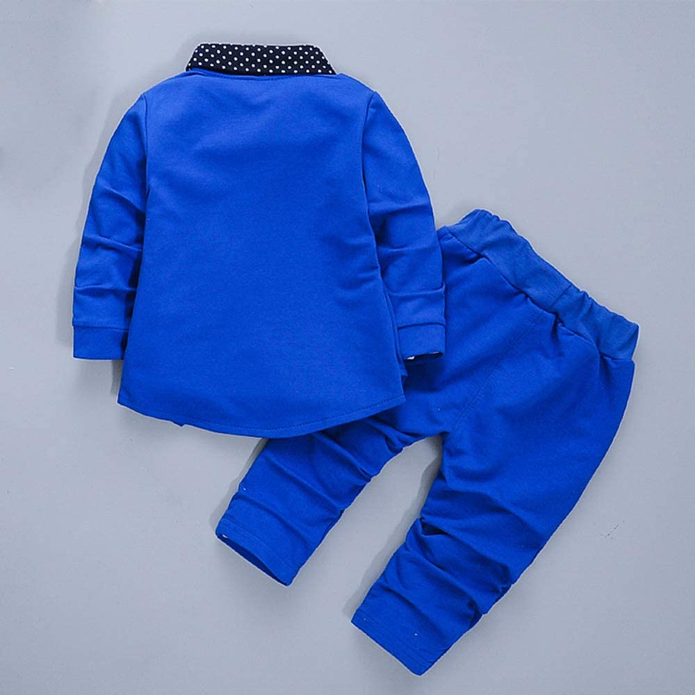 New Stunning Baby Boy Blue Knitted Collar Suit Grey Detail Jumper Trousers