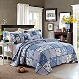 FADFAY Queen Blue Roses Comforter Sets Girls Quilted Bedding Set Cute Comforter Bedding Sets Boys Summer Quilt Blanket 3Pcs