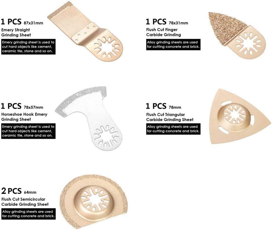 TOOGOO 6 Pi/èces Lames de Scie /à M/étaux Demi-Cercle en Alliage D/émeri Assortiment de Lames de Scie /à Outils Multiples Outil Multifonction Accessoires Pour Outils Oscillants