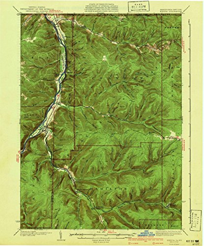 Pennsylvania Maps | 1941 Kinzua, PA USGS Historical Topographic Map |Fine Art Cartography Reproduction Print