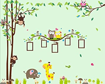 Nursery Wall Decals XL, Nursery Tree, Owl, Monkey, Elephant,Giraffe Wall