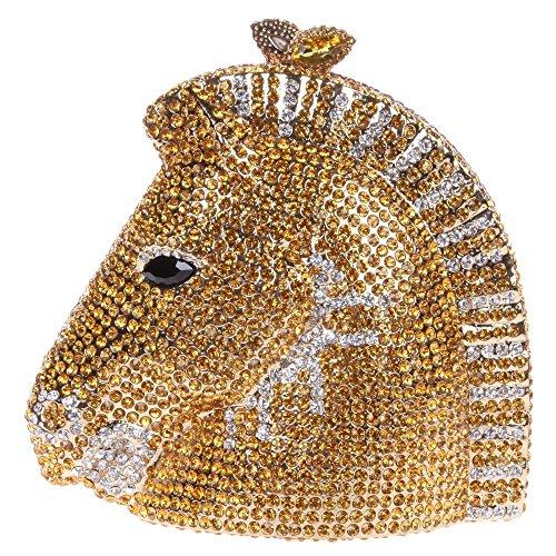 Borsellini Pochette Testa Da Nozze Colori Oro 3 3d Santimon Amovibile Borse Festa Di Donna Borsa Tracolla Strass Con Sera Cavallo S8qvv5Ix