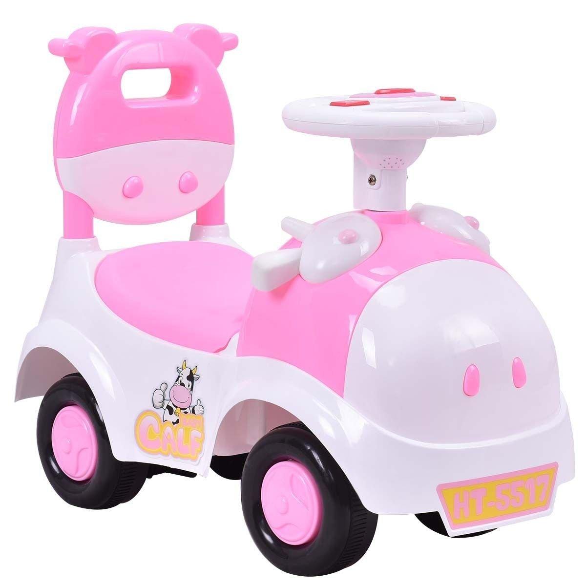 Costzon Kids Ride On Push Car, 3 in 1 Sliding Car Pushing Cart, Toddlers Ride On Toy w/ Working Horn & Music (Pink)