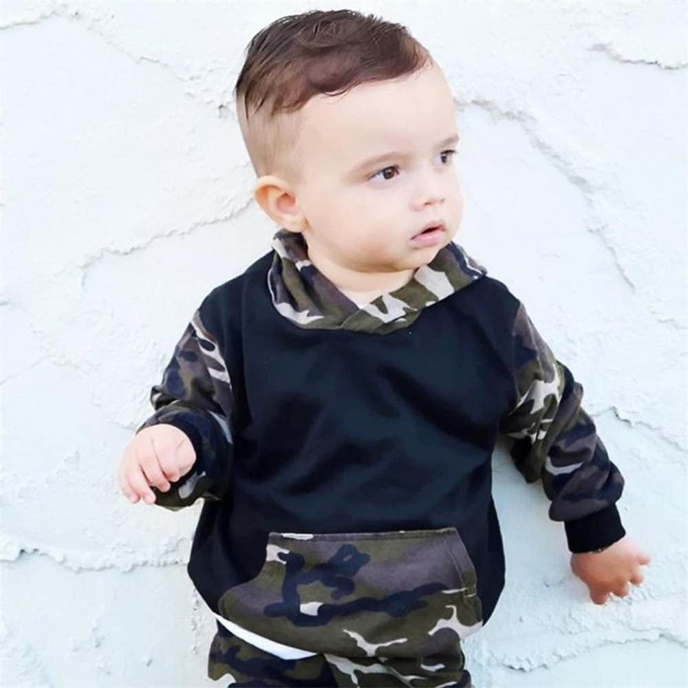 Boy Clothes Set 2Pcs Toddler Infant Baby Print Camouflage Long Sleeve Hooded Tops+Pants Outfits Mitsutomi